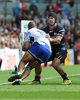 Seamus Kelly of USA bundles Paul Perez of Samoa into touch during Match 6 of the Rugby World Cup 2015 between Samoa and USA - 20/09/2015 - Brighton Community Stadium, Brighton <br /> Mandatory Credit: Rob Munro/Stewart Communications