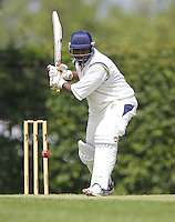 Chulananda de Silva bats for Wembley during the Middlesex County Cricket League Division Three game between Wembley and North London at Vale Farm, Wembley on Sat May 31, 2014