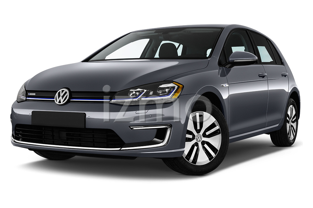 Stock pictures of low aggressive front three quarter view of a 2017 Volkswagen E-Golf SE 5 Door Hatchback