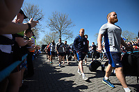 Ross Batty and the rest of the Bath Rugby team make their way to the stadium. The Clash, Aviva Premiership match, between Bath Rugby and Leicester Tigers on April 8, 2017 at Twickenham Stadium in London, England. Photo by: Rogan Thomson / JMP for Onside Images