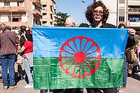 Marcello Zuinisi. Legale Rappresentante Associazione Nazione Rom durante il corteo in ricordo delle tre bambine Rom morte nel rogo di origine dolosa nel parcheggio di un centro commerciale