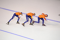 SPEEDSKATING: CALGARY: Olympic Oval, 02-12-2017, ISU World Cup, Team Pursuit Ladies, Marrit Leenstra (NED), Lotte van Beek (NED), Antoinette de Jong (NED), ©photo Martin de Jong