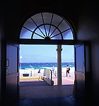 Bondi beach viewed from inside building, Sydney, Australia