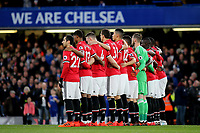 The Manchester United team observe a one minute silence pre-match during Chelsea vs Manchester United, Premier League Football at Stamford Bridge on 5th November 2017