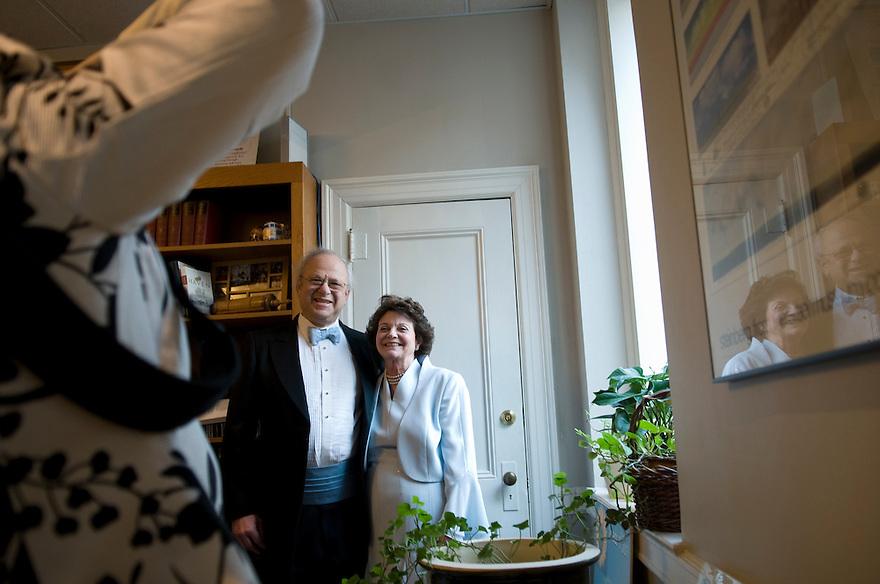 BOSTON, MA.--February 1, 2009--Ellen Kaplan Sulkin and Dr. Stephen B. Kardon, once teen sweethearts, marry  at Temple Israel, 477 Longwood Avenue, in Boston. JODI HILTON FOR THE NEW YORK TIMES