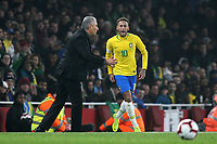 Brazil Team Manager, Tite, has a quiet word with Neymar Jr during Brazil vs Uruguay, International Friendly Match Football at the Emirates Stadium on 16th November 2018