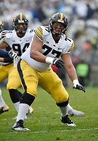 STATE COLLEGE, PA - OCTOBER 27: Iowa T Alaric Jackson (77) blocks. The Penn State Nittany Lions defeated the Iowa Hawkeyes 30-24 on October 27, 2018 at Beaver Stadium in State College, PA. (Photo by Randy Litzinger/Icon Sportswire)