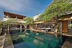 Swimming pool in front of a modern luxury villa, Canggu, Bali