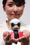 "October 3, 2016, Chiba, Japan - Japanese automobile giant Toyota Motor displays compact sized communication robot ""Kirobo Mini"" which enables to recognize faces and voices and make conversation at a press preview of the CEATEC  in Chiba, suburban Tokyo on Monday, October 3, 2016. Toyota will start to sell the 10cm height robot next year.   (Photo by Yoshio Tsunoda/AFLO) LWX -ytd-"