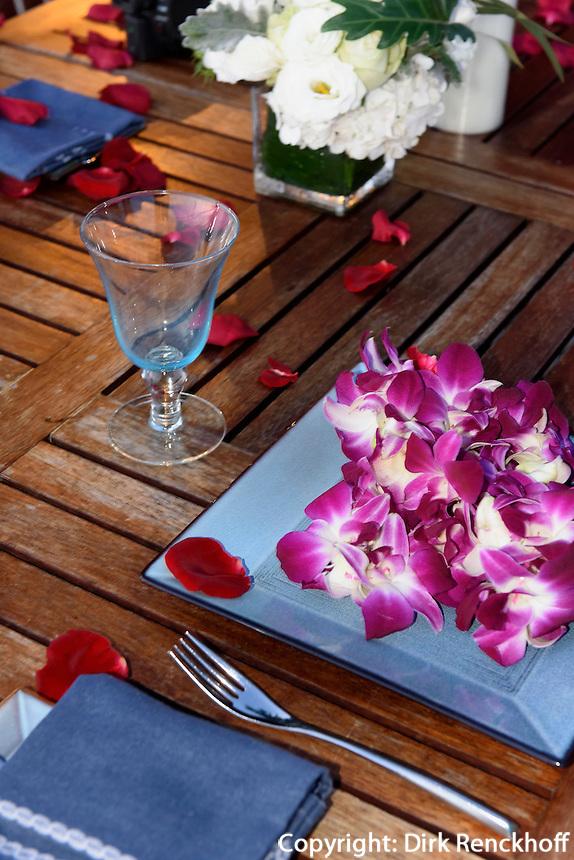 Restaurant des Mandarin Oriental Hotel in Sanya auf der Insel Hainan in China<br /> restaurant of Mandarin Oriental Hotel in Sanya, Hainan island, China