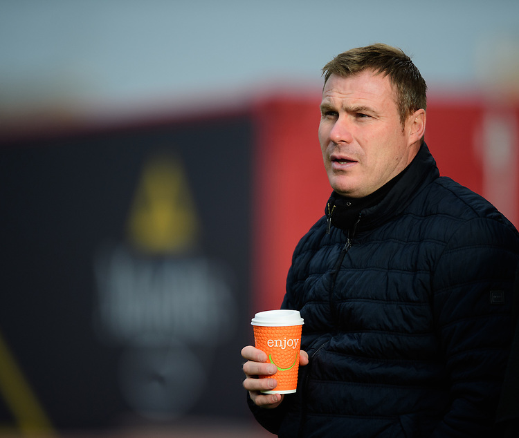 Mansfield Town manager David Flitcroft during the pre-match warm-up<br /> <br /> Photographer Chris Vaughan/CameraSport<br /> <br /> The EFL Sky Bet League Two - Lincoln City v Mansfield Town - Saturday 24th November 2018 - Sincil Bank - Lincoln<br /> <br /> World Copyright © 2018 CameraSport. All rights reserved. 43 Linden Ave. Countesthorpe. Leicester. England. LE8 5PG - Tel: +44 (0) 116 277 4147 - admin@camerasport.com - www.camerasport.com