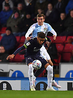 Blackburn Rovers' Joe Rothwell battles with Derby County's Jayden Bogle<br /> <br /> Photographer Dave Howarth/CameraSport<br /> <br /> The EFL Sky Bet Championship - Blackburn Rovers v Derby County -Tuesday 9th April 2019 - Ewood Park - Blackburn<br /> <br /> World Copyright &copy; 2019 CameraSport. All rights reserved. 43 Linden Ave. Countesthorpe. Leicester. England. LE8 5PG - Tel: +44 (0) 116 277 4147 - admin@camerasport.com - www.camerasport.com
