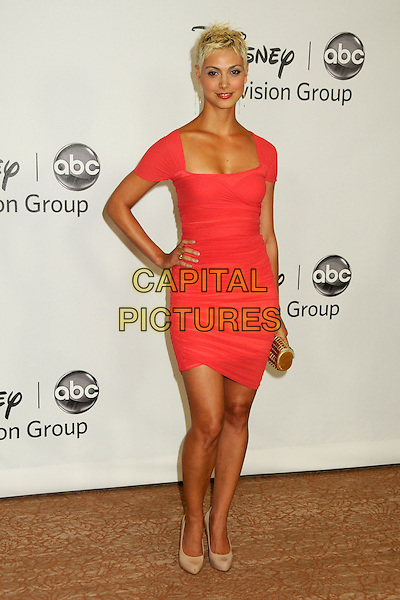 MORENA BACCARIN.Disney ABC Television Summer TCA Party 2010 held at The Beverly Hilton Hotel, Beverly Hills, California, USA..August 1st, 2010.full length red dress hand on hip dyed blonde hair beige shoes .CAP/ADM/BP.©Byron Purvis/AdMedia/Capital Pictures.