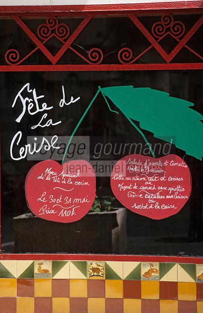 """Europe/France/Languedoc-Roussillon/66/Pyrénées-Orientales/Céret: Menu de la """"Bodega des Artistes"""" pour la fête de la cerise"""