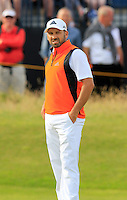 Sergio Garcia (ESP) sinks his birdie putt on the 14th green during Thursday's Round 1 of the 145th Open Championship held at Royal Troon Golf Club, Troon, Ayreshire, Scotland. 14th July 2016.<br /> Picture: Eoin Clarke | Golffile<br /> <br /> <br /> All photos usage must carry mandatory copyright credit (&copy; Golffile | Eoin Clarke)