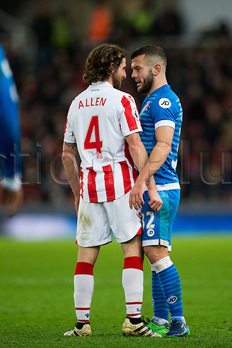 19.11.2016. Bet365 Stadium, Stoke, England. Premier League Football. Stoke City versus AFC Bournemouth. Bournemouth midfielder Jack Wilshere squares up to Stoke City midfielder Joe Allen.
