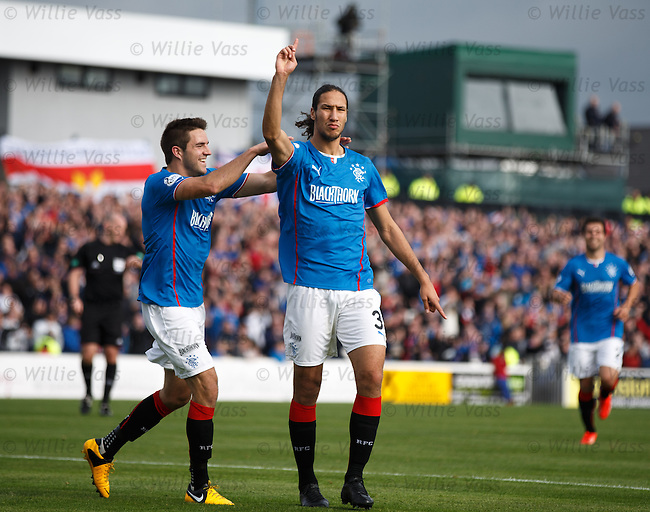 Bilel Mohsni celebrates his goal for Rangers