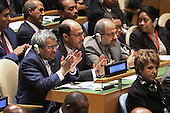 Members of the Iranian delegation to the United Nations applaud as United States President Barack Obama addresses the 70th annual UN General Assembly at the UN headquarters September 28, 2015 in New York City. Obama will hold bilateral meetings with Indian Prime Minister Narendra Modi and Russian President Vladimir Putin later in the day.  <br /> Credit: Chip Somodevilla / Pool via CNP