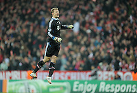 FUSSBALL   CHAMPIONS LEAGUE   SAISON 2011/2012  Achtelfinale Rueckspiel 13.03.2012 FC Bayern Muenchen - FC Basel  JUBEL Torwart Manuel Neuer (FC Bayern Muenchen)