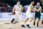 Real Madrid Luka Doncic and Gustavo Ayon and Panathinaikos Nick Calathes during Turkish Airlines Euroleague Quarter Finals 4th match between Real Madrid and Panathinaikos at Wizink Center in Madrid, Spain. April 27, 2018. (ALTERPHOTOS/Borja B.Hojas)