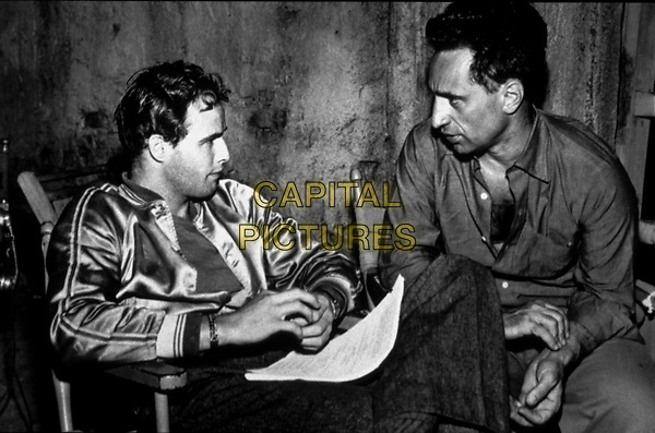 A Streetcar Named Desire (1951) <br /> Behind the scenes photo of Marlon Brando &amp; Elia Kazan<br /> *Filmstill - Editorial Use Only*<br /> CAP/KFS<br /> Image supplied by Capital Pictures