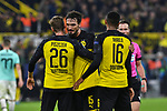 05.11.2019, Signal Iduna Park, Dortmund, GER, CL, Borussia Dortmund vs Inter Mailand<br /> , DFL regulations prohibit any use of photographs as image sequences and/or quasi-video <br /> <br /> im Bild Schlussjubel / Schlußjubel / Emotion / Freude / Lukasz Piszczek (#26, Borussia Dortmund) Mats Hummels (#15, Borussia Dortmund) Manuel Akanji (#16, Borussia Dortmund) <br /> <br /> Foto © nordphoto/Mauelshagen