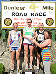 Donna Marie Brennan presents the prizes to Fiona Roche 1st, Niamh Devlin 2nd and Aoife Fay 3rd in the Dunleer 4 mile run. Photo:Colin Bell/pressphotos.ie