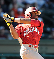 USC center fielder Jackie Bradley Jr. (19) hits during a game between the Clemson Tigers and South Carolina Gamecocks Saturday, March 6, 2010, at Fluor Field at the West End in Greenville, S.C. Bradley is ranked No. 8 sophomore prospect in the nation by Baseball America. Photo by: Tom Priddy/Four Seam Images