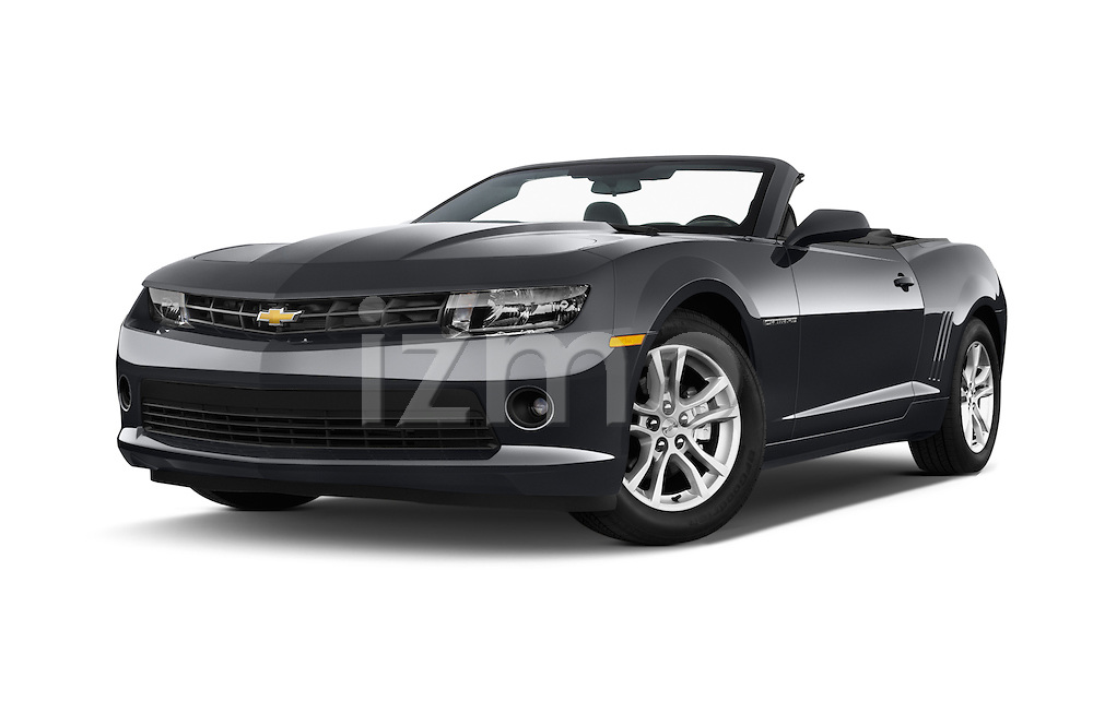 Stock pictures of low aggressive front three quarter view of 2015 Chevrolet Camaro 2LT 2 Door Convertible Low Aggressive
