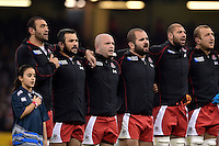 Georgia players sing the national anthem. Rugby World Cup Pool C match between New Zealand and Georgia on October 2, 2015 at the Millennium Stadium in Cardiff, Wales. Photo by: Patrick Khachfe / Onside Images