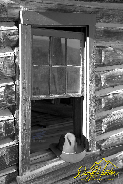 Cowboy hat, Bar B C Dude Ranch, derelict buildings, Black and White, Grand Teton Park