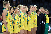 15.09.2018 Australia during the Australia v South Africa netball test match at Spark Arena in Auckland. Mandatory Photo Credit ©Michael Bradley.