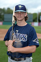 Brendan Rodgers (22) of Lake Mary High School in Longwood, Florida poses for a photo while playing for the Tampa Bay Rays scout team during the East Coast Pro Showcase on July 31, 2014 at NBT Bank Stadium in Syracuse, New York.  (Mike Janes/Four Seam Images)