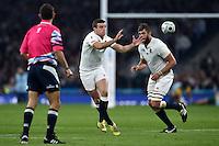 George Ford of England receives the ball. Rugby World Cup Pool A match between England and Australia on October 3, 2015 at Twickenham Stadium in London, England. Photo by: Patrick Khachfe / Onside Images