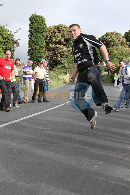 Austin McKeown at the all Ireland Junior and Novice Road Bowling Finals hosted by the Drogheda and District Road Bowls Club on the Baltray Road, Drogheda, Co.Louth....Photo NEWSFILE/Jenny Matthews.