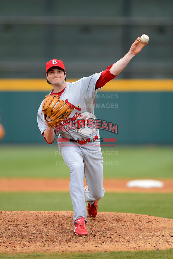 St. Louis Cardinals pitcher John Gast #76 during a Spring Training game against the Houston Astros at Osceola County Stadium on March 1, 2013 in Kissimmee, Florida.  The game ended in a tie at 8-8.  (Mike Janes/Four Seam Images)