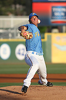 Myrtle Beach Pelicans pitcher Robbie Erlin  (#27) pitching during a game vs. the Potomac Nationals at BB&T Coastal Field in Myrtle Beach, SC on April 25, 2011.    Photo By Robert Gurganus/Four Seam Images