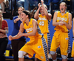 BROOKINGS, SD - MARCH 30:  Megan Waytashek #24 from South Dakota State University celebrates a three pointer in front of the bench against Indiana University in the second half of their WNIT quarterfinal game Sunday afternoon at Frost Arena in Brookings. (Photo by Dave Eggen/Inertia)