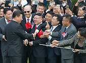 President XI Jinping of China greets guests during an official State Arrival ceremony on the South Lawn of the White House in Washington, DC on Friday, September 25, 2015.<br /> Credit: Ron Sachs / CNP