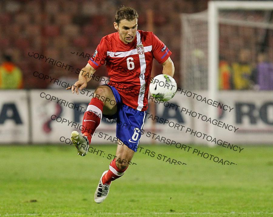 Fudbal, EURO 2012 Group C, qualifications.Serbia Vs. Italy (Italija).Branislav Ivanovic.Beograd, 07.10.2011..Foto: Srdjan Stevanovic/Starsportphoto.com ©
