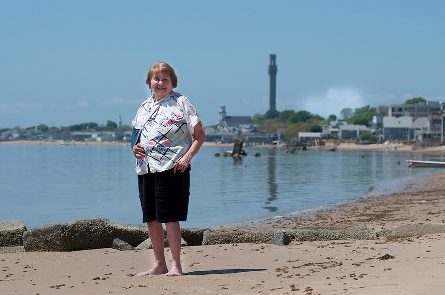 PROVINCETOWN, MA.--May 24, 2010-- Barbara Rushmore, longtime Provincetown resident who is responsible for writing a bylaw banning chain stores, on the beach outside her home. CREDIT: JODI HILTON FOR THE NEW YORK TIMES