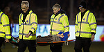Lewis Macleod stretchered off after suffering injury