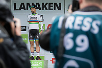 World Champion Peter Sagan (SVK/Bora Hansgrohe) on the podium as he is the leader in the points competition.<br /> <br /> <br /> Binckbank Tour 2017 (UCI World Tour)<br /> Stage 4: Lanaken &gt; Lanaken (BEL) 155km