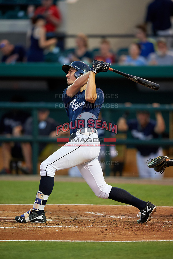 Lakeland Flying Tigers right fielder Ben Verlander (32) follows through on a swing during a game against the Jupiter Hammerheads on April 17, 2017 at Joker Marchant Stadium in Lakeland, Florida.  Lakeland defeated Jupiter 5-1.  (Mike Janes/Four Seam Images)