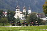 Mitchelton-Scott team in action during the Women's Team Time Trial of the 2018 UCI Road World Championships running 54.7km from Ötztal to Innsbruck, Innsbruck-Tirol, Austria 2018.<br /> Picture: Innsbruck-Tirol 2018/BettiniPhoto | Cyclefile<br /> <br /> <br /> All photos usage must carry mandatory copyright credit (© Cyclefile | BettiniPhoto/Innsbruck-Tirol 2018)