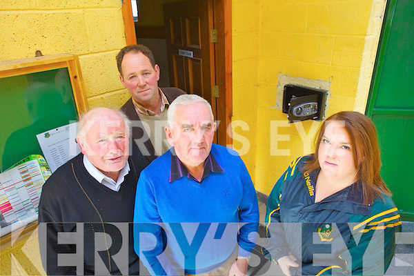 Members of Moyvane GAA are disgusted and bewildered that someone could rob their lifesaving defibrillator. Pictured were: Jerry Brosnan (President of the Club), Martin Kennelly (Treasurer), Johnny Stack (Chairman) and Áine Cronin (PRO).