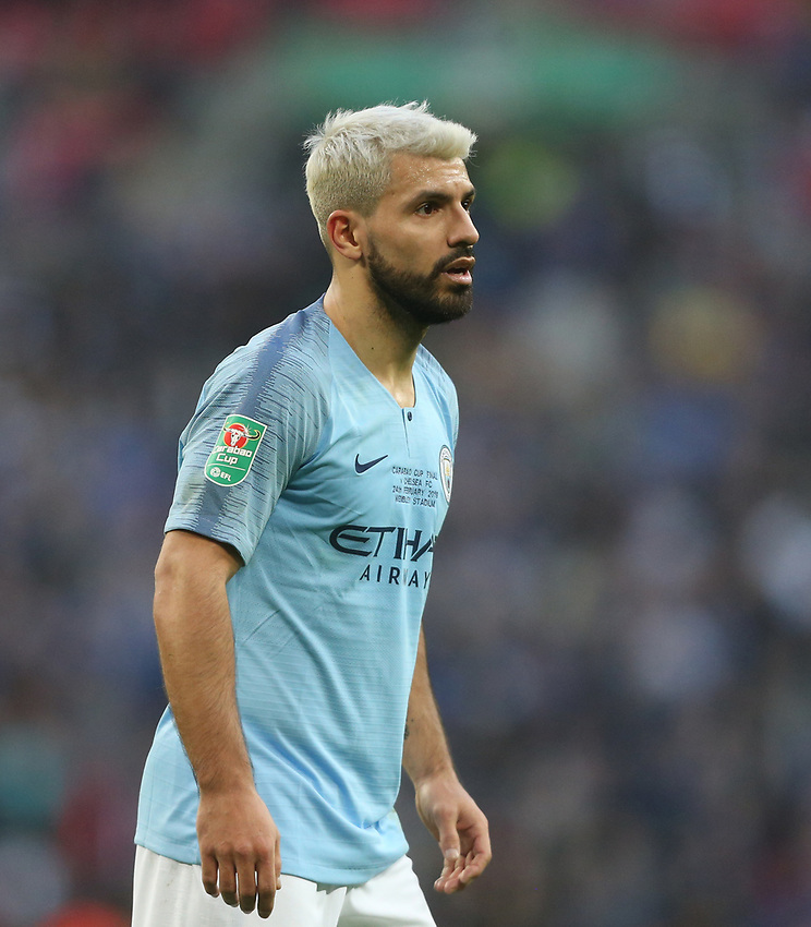 Manchester City's Sergio Aguero<br /> <br /> Photographer Rob Newell/CameraSport<br /> <br /> The Carabao Cup Final - Chelsea v Manchester City - Sunday 24th February 2019 - Wembley Stadium - London<br />  <br /> World Copyright © 2018 CameraSport. All rights reserved. 43 Linden Ave. Countesthorpe. Leicester. England. LE8 5PG - Tel: +44 (0) 116 277 4147 - admin@camerasport.com - www.camerasport.com