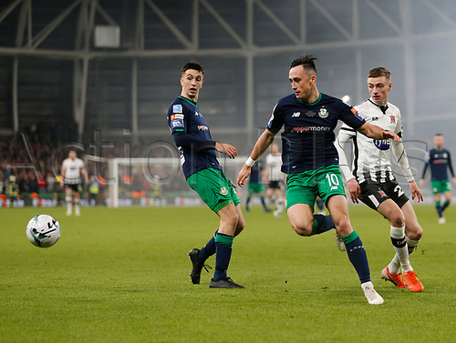 3rd November 2019; Aviva Stadium, Dublin, Leinster, Ireland; FAI Cup Final Football, Dundalk Football Club versus Shamrock Rovers; Aaron McEneff (Shamrock Rovers) gets the ball away from Daniel Kelly (Dundalk) - Editorial Use