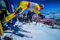 Downhill,Downhill Racer, Ski racing, Skier, Skiing, North America, USA, America, US, United States, Man, People, Snow, Snow Basin, Snowbasin, Utah, Huntsville, Analog, Horizontal