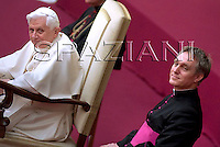 Pope Benedict XVI during a general audience he held in the Pope Paul VI hall at the Vatican, Wednesday, Feb. 11, 2009.